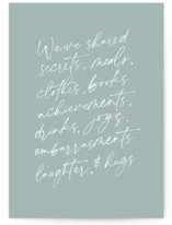 This is a green sympathy card by Amy Payne called Shared Lives with standard printing on signature in greeting cards.