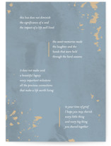 This is a blue sympathy card by Lissabeth Anglin called Not Diminished with standard printing on signature in greeting cards.