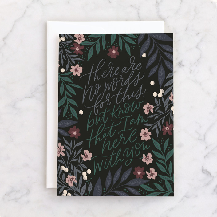 """""""Here with you florals"""" - Individual Sympathy Greeting Cards in Midnight by Alethea and Ruth."""