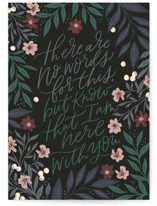 This is a black sympathy card by Alethea and Ruth called Here with you florals with standard printing on signature in greeting cards.