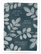 This is a blue sympathy card by Robert and Stella called Only Love with standard printing on signature in greeting cards.
