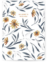 This is a yellow sympathy card by Pati Cascino called my heart is with you with standard printing on signature in greeting cards.