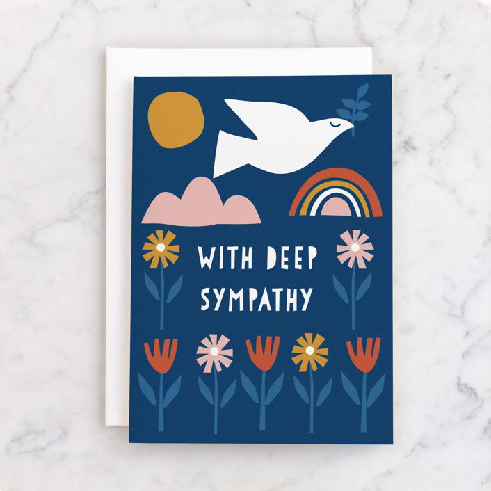 """""""Scandi Dove"""" - Individual Sympathy Greeting Cards in Navy by Nam Bourassa."""