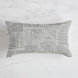 This is a black pillow by Alethea and Ruth called Sketchbook Geometric.