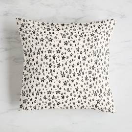 This is a white pillow by Ariel Rutland called Night Sky Sketch in standard.