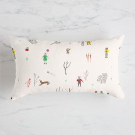 This is a pink pillow by Eve Schultz called Animal Friends.