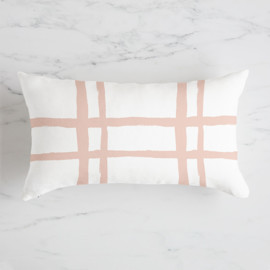This is a pink pillow by Blustery August called Window Plaid.