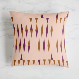 This is a purple pillow by Bethania Lima called Optical Triangles And Stripes 3.