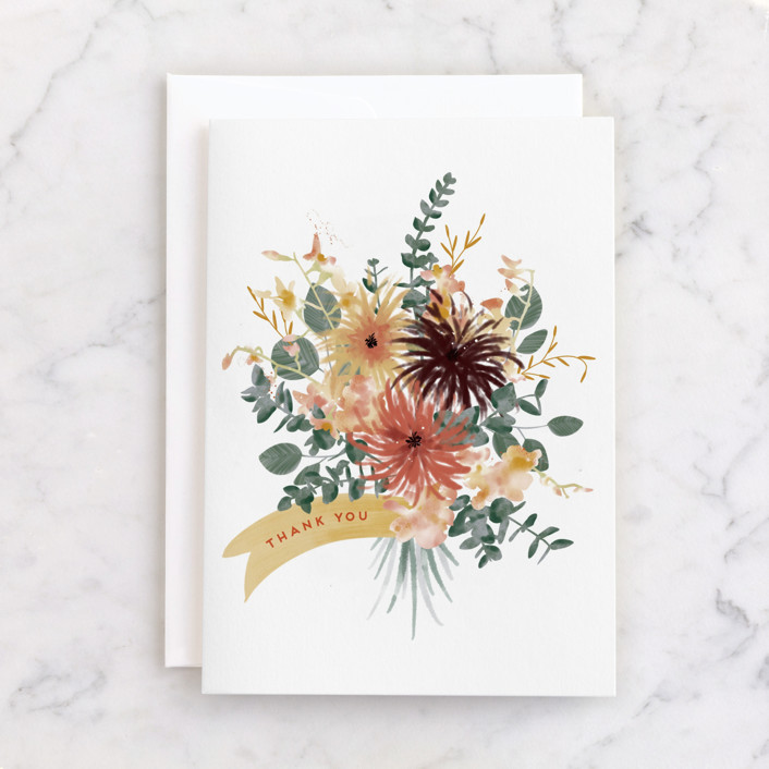 """""""Bouquet"""" - Individual Thank You Greeting Cards in Autumn by Leah Bisch."""