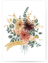 This is a orange greeting card by Leah Bisch called Bouquet with standard printing on signature in greeting cards.
