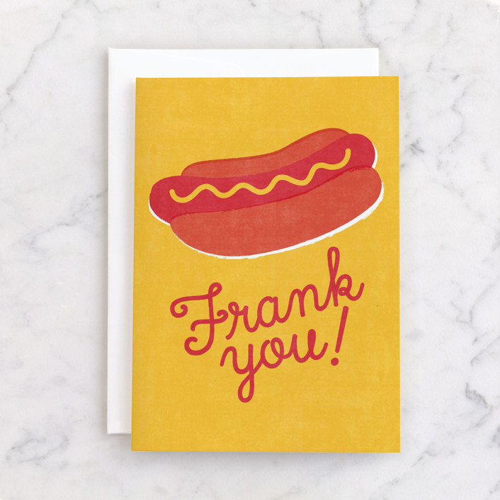 """""""Frank You"""" - Individual Thank You Greeting Cards in Mustard by Jessie Steury."""