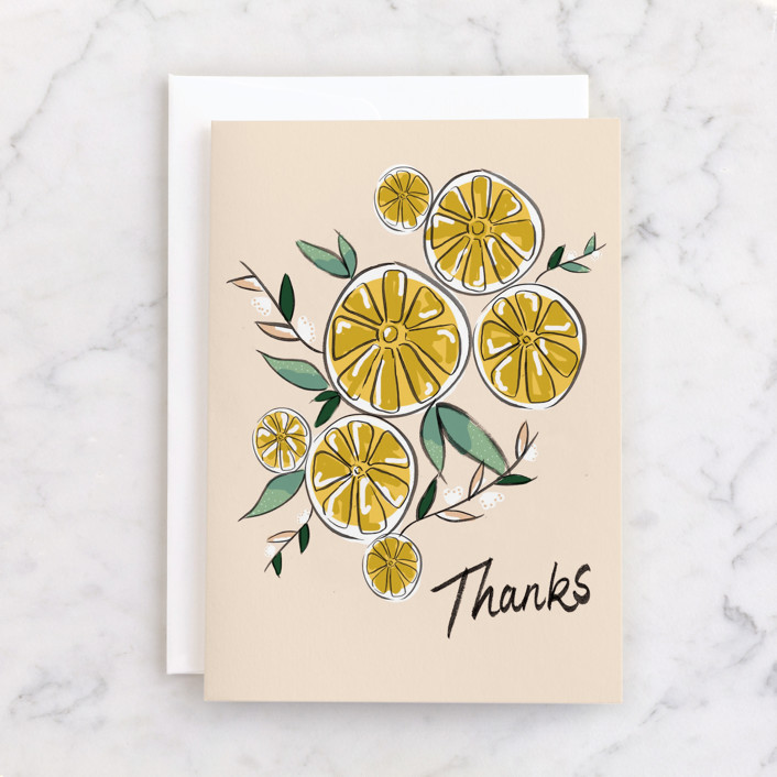 """hello lemon!"" - Individual Thank You Greeting Cards in Peach by Christie Elise."