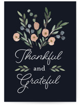 This is a blue greeting card by Olivia Merritt called Thankful and Grateful with standard printing on signature in greeting cards.