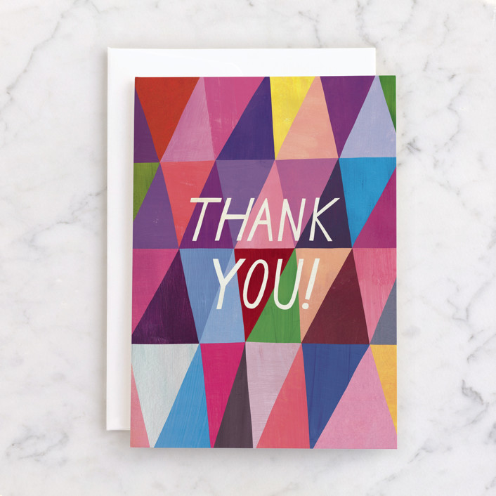 """""""Triangle Thank You"""" - Individual Thank You Greeting Cards in Raspberry by melanie mikecz."""