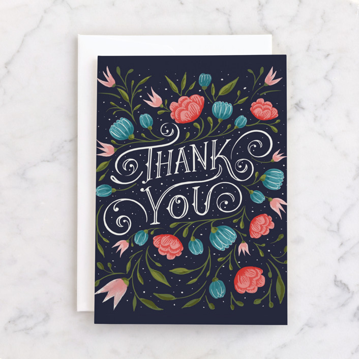 """Thank You Floral"" - Individual Thank You Greeting Cards in Navy by Hannah Williams."