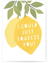 This is a yellow greeting card by Karidy Walker called I could squeeze you with standard printing on signature in greeting cards.
