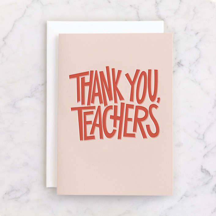 """""""Thank You, Teachers"""" - Individual Thank You Greeting Cards in Apple by Lea Delaveris."""