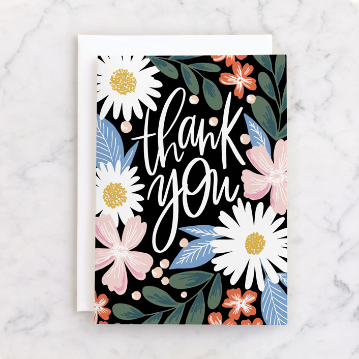 """""""Thank You Garden"""" - Individual Thank You Greeting Cards in Blush by Alethea and Ruth."""