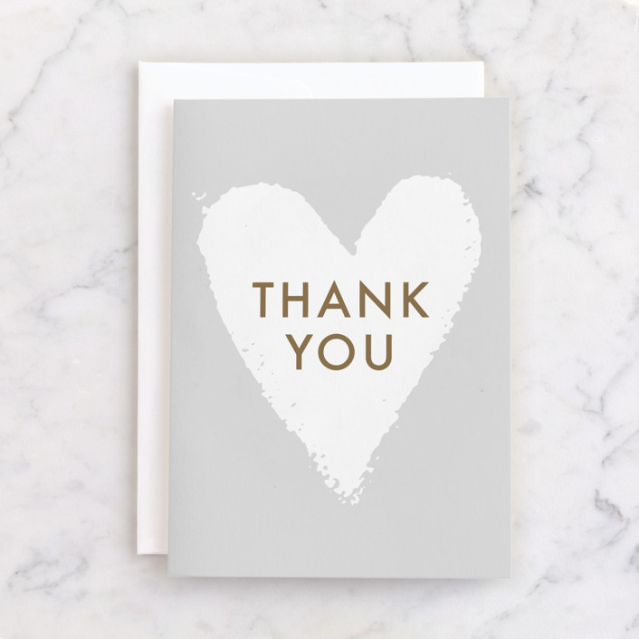 """""""From the Heart"""" - Individual Thank You Greeting Cards in Mist by AK Graphics."""