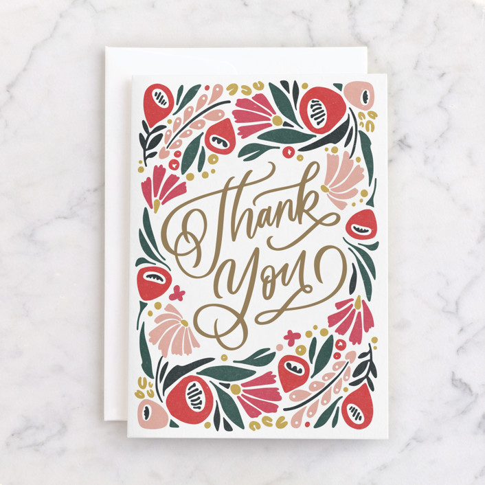 """Thank You In Bloom"" - Individual Thank You Greeting Cards in Magenta by Kristen Smith."