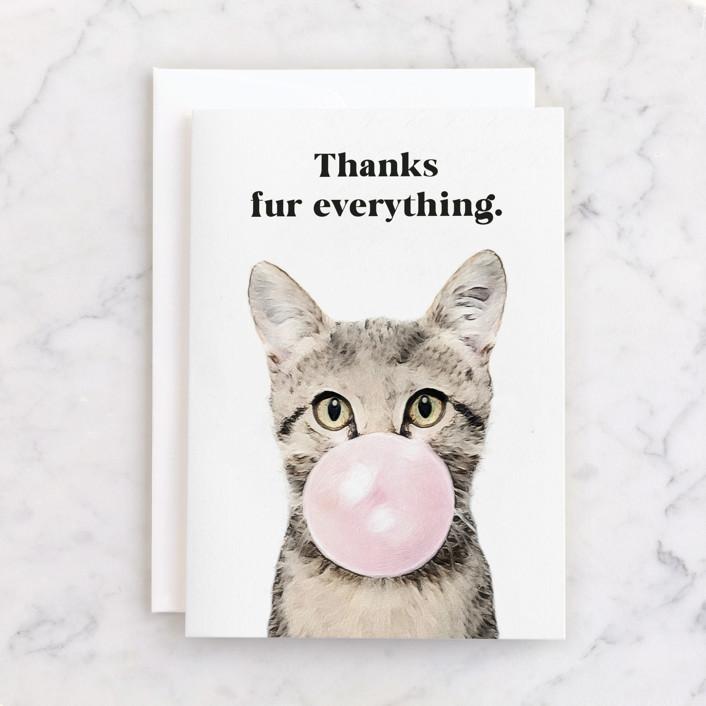 """Bubblegum Animals: Cat"" - Individual Thank You Greeting Cards in Bubblegum by Maja Cunningham."