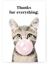 This is a black greeting card by Maja Cunningham called Bubblegum Animals: Cat with standard printing on signature in greeting cards.