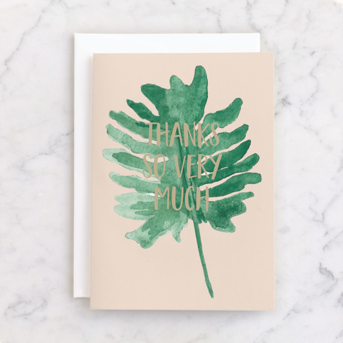 """""""Monstera Leaf Thanks"""" - Individual Thank You Greeting Cards in Forest by Erika Firm."""