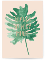 This is a green greeting card by Erika Firm called Monstera Leaf Thanks with standard printing on signature in greeting cards.