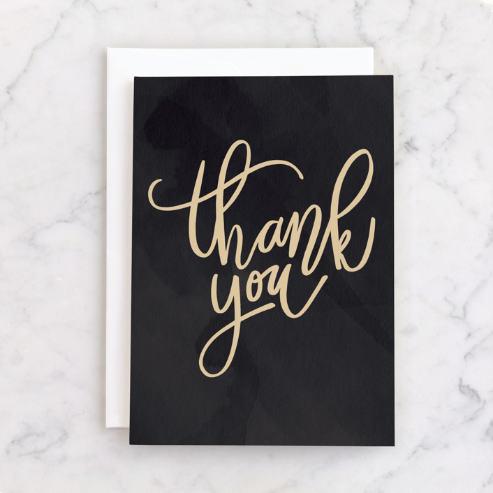 """""""Handwritten thanks"""" - Individual Thank You Greeting Cards in Slate by Stacey Meacham."""