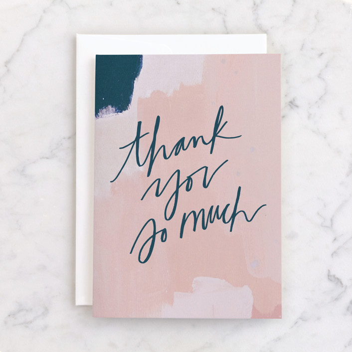 """""""Thanks on Blush"""" - Individual Thank You Greeting Cards in Blush by Krissy Bengtson."""