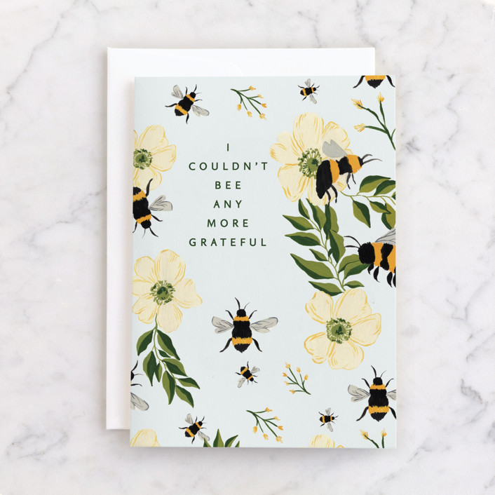 """""""Bee Thankful"""" - Individual Thank You Greeting Cards in Bumblebee by Taylor Mahlke."""