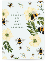 This is a black greeting card by Taylor Mahlke called Bee Thankful with standard printing on signature in greeting cards.