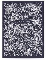 This is a blue greeting card by Katharine Watson called Thank You Botanical with standard printing on signature in greeting cards.
