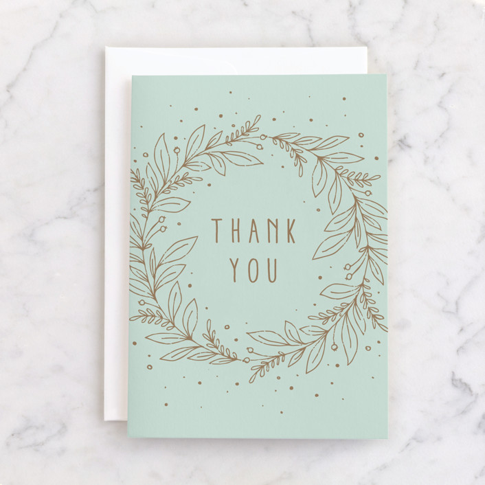 """""""Gilded Gratitude"""" - Individual Thank You Greeting Cards in Mint by Michelle Taylor."""