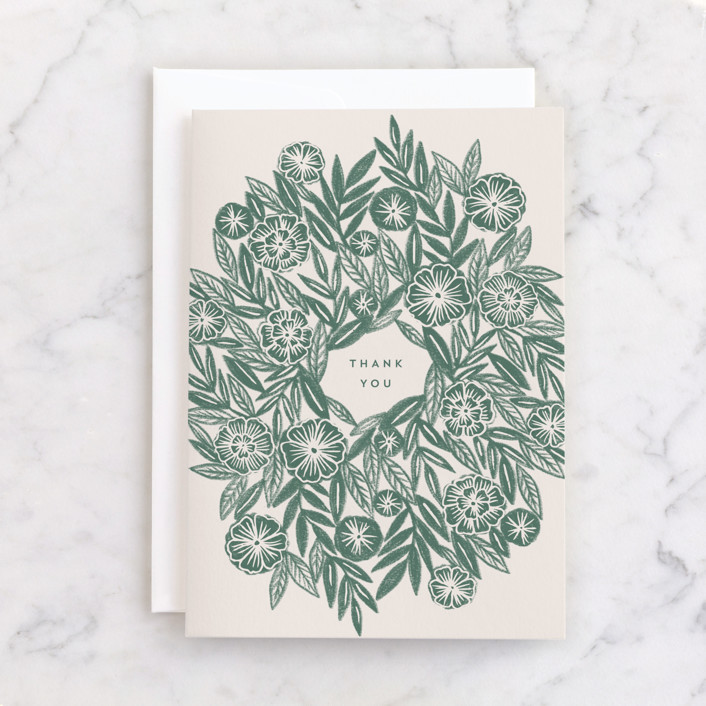 """""""Sketched Greenery Thanks"""" - Individual Thank You Greeting Cards in Basil by Katharine Watson."""