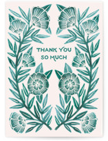 This is a green greeting card by Katharine Watson called Watercolor Thank You with standard printing on signature in greeting cards.