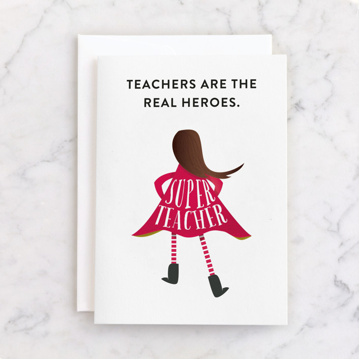 """Superhero Teacher"" - Individual Thank You Greeting Cards in Cherry by Grace Kreinbrink."