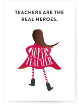This is a red greeting card by Grace Kreinbrink called Super Imagination Girl with standard printing on signature in greeting cards.