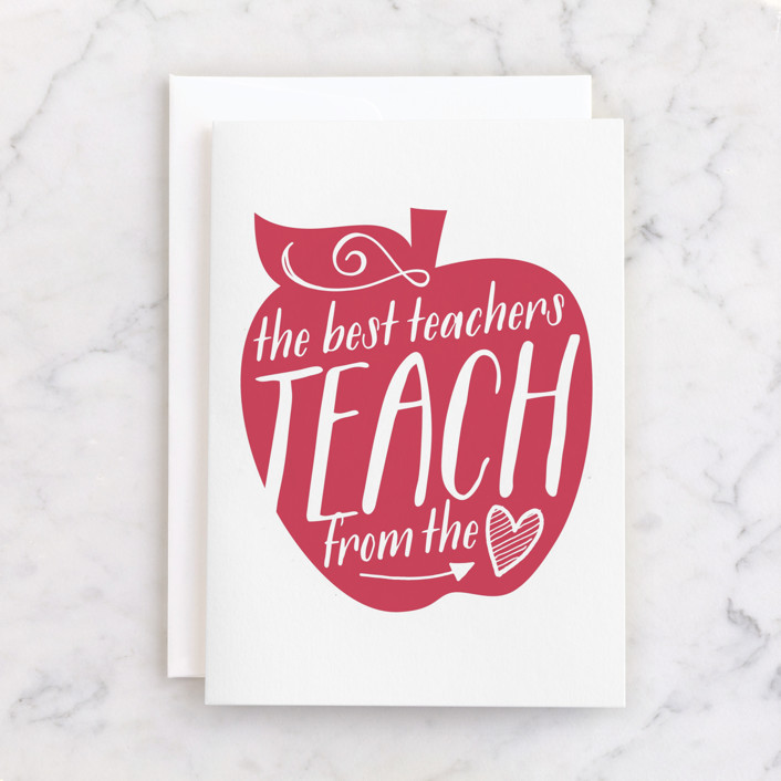 """""""Teach From The Heart"""" - Individual Thank You Greeting Cards in Cream by Jessie Steury."""