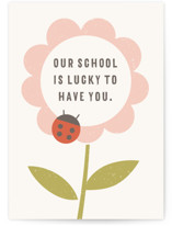 This is a beige greeting card by Amber Barkley called The Flower and the Ladybug Invitation with standard printing on signature in greeting cards.
