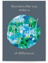 This is a blue greeting card by Holly Whitcomb called Painted Earth with standard printing on signature in greeting cards.