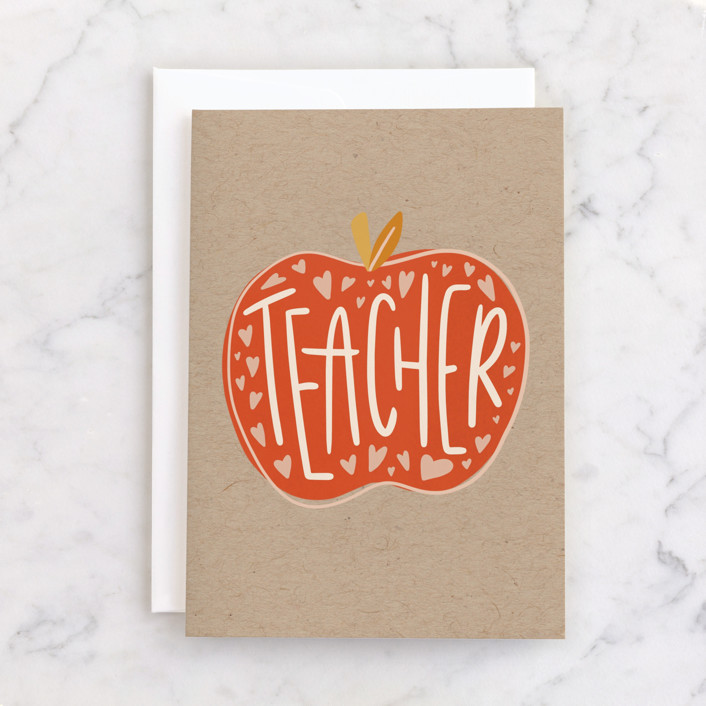 """""""Teacher Appreciation"""" - Individual Thank You Greeting Cards in Apple by Meagan Bateman."""