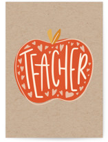 This is a red greeting card by Meagan Bateman called Teacher Appreciation with standard printing on signature in greeting cards.