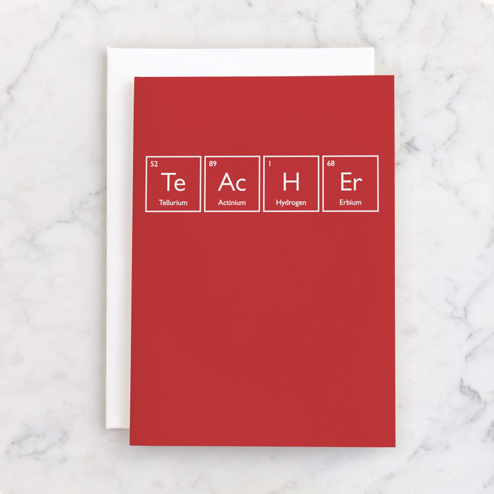 """""""Periodic Teacher"""" - Individual Thank You Greeting Cards in Cherry by Heather Schertzer."""