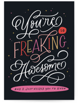 This is a black greeting card by Kristen Smith called Freaking Awesome with standard printing on signature in greeting cards.