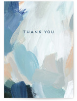 This is a blue greeting card by Nicole Walsh called Painted Thank You with standard printing on signature in greeting cards.