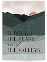 This is a grey greeting card by Erin German called Peaks and Valleys with standard printing on signature in greeting cards.