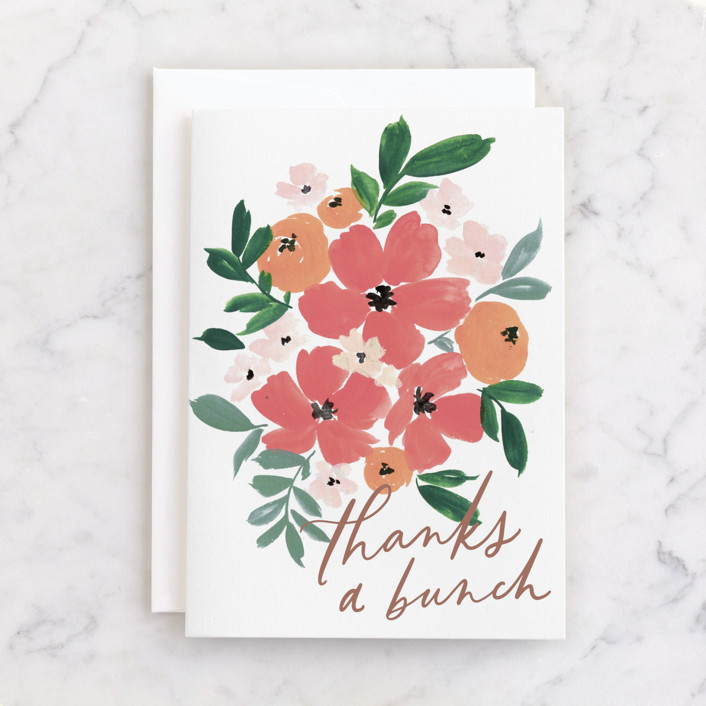 """""""Bunch of Thanks"""" - Individual Thank You Greeting Cards in Snow by Everett Paper Goods."""