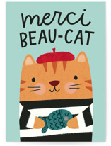 This is a green greeting card by Kristen Magee called Merci Beau-cat with standard printing on signature in greeting cards.