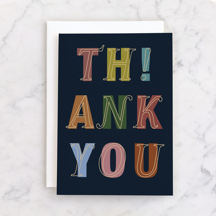 """""""th!ank you"""" - Individual Thank You Greeting Cards in Navy by Sumak Studio."""